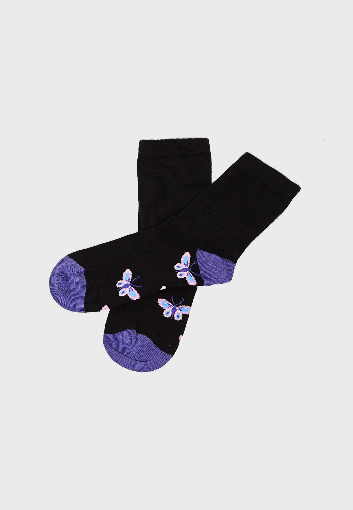 4 Pack Butterfly Spot And Stripe Ankle Socks