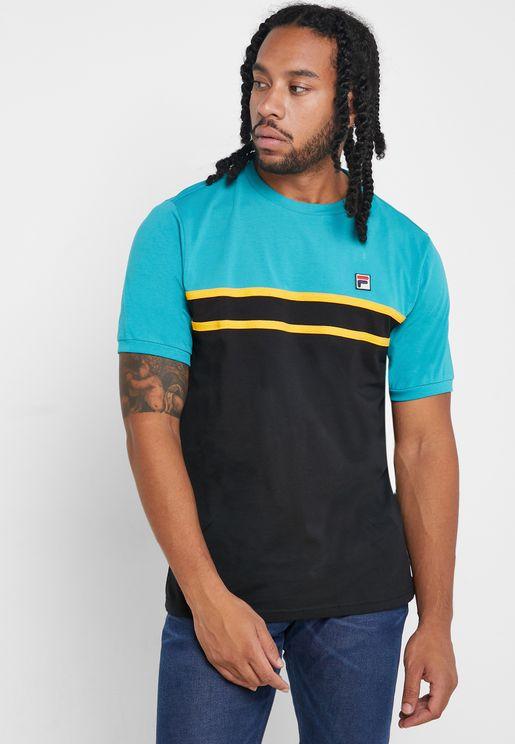 Cut & Sew Laid On Stripe T-Shirt