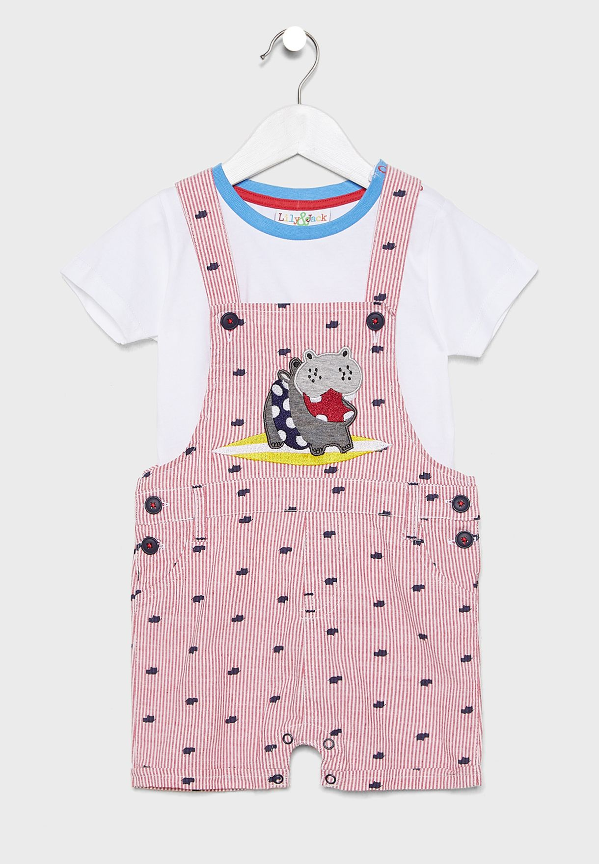 Infant T-Shirt + Striped Dungaree Set