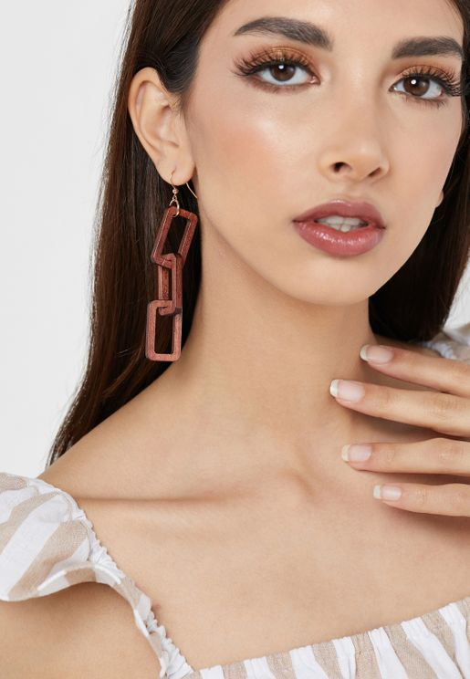 Cutout Wood Block Drop Earrings