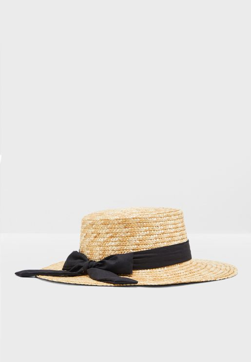 Straw Boater Hat With Band Detail 351e8ed67b14