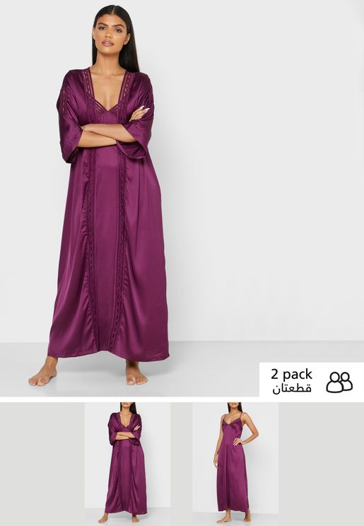 2 In 1 Nightdress Robe