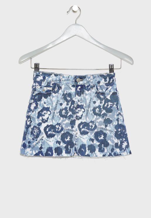 Kids A-Line Floral Skirt