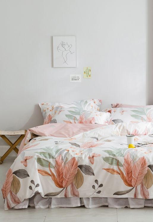 Leaf Print Bedding Set - King