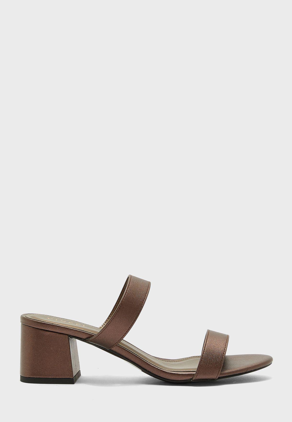 Double Strap Mid Heel Sandal