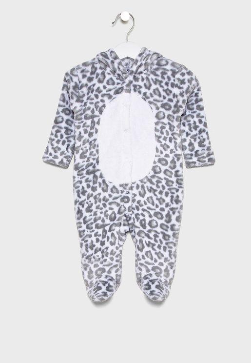 Infant Leopard Hooded Romper