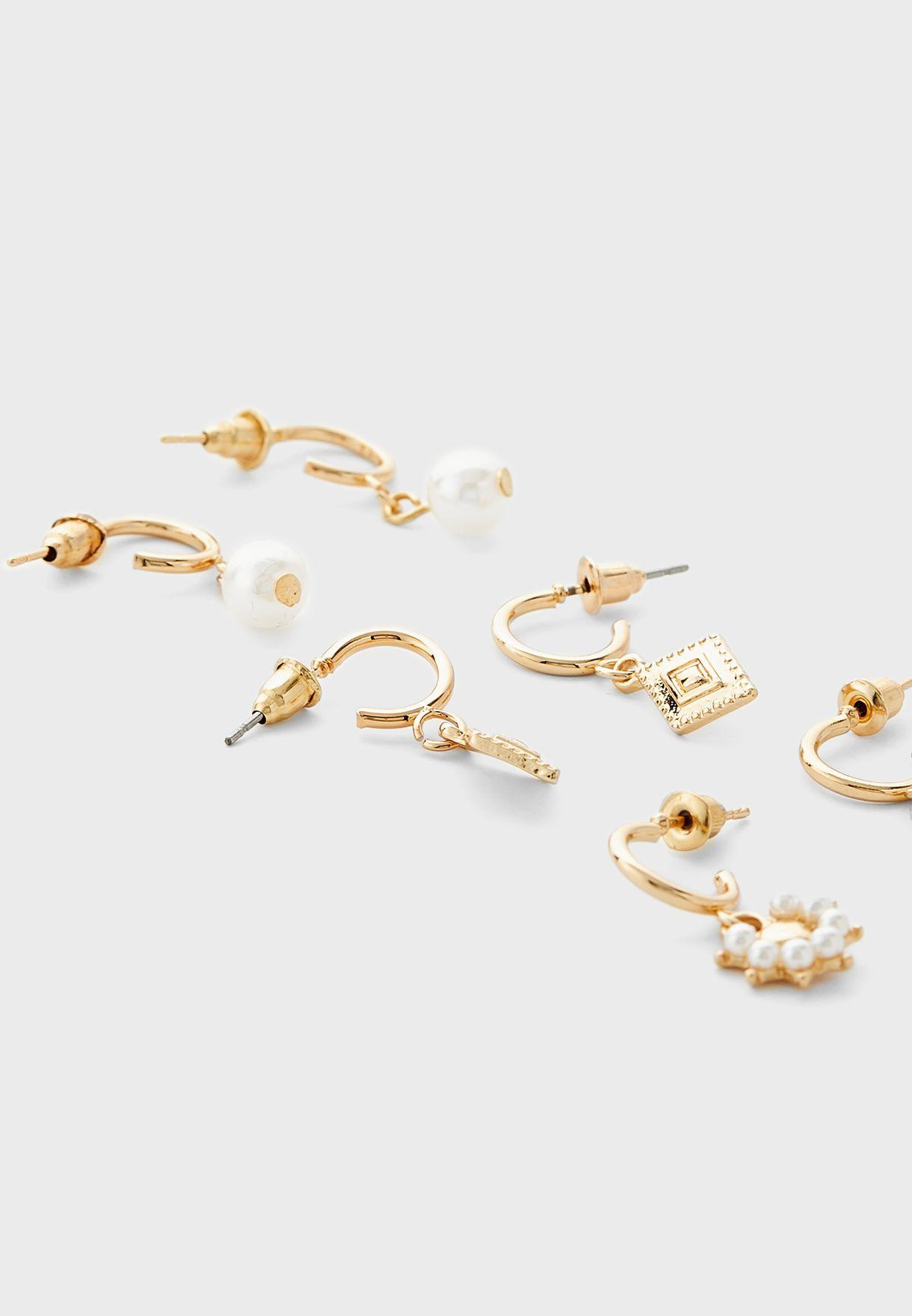 Pack Of 3 Mixed Pearl Hoop Earrings