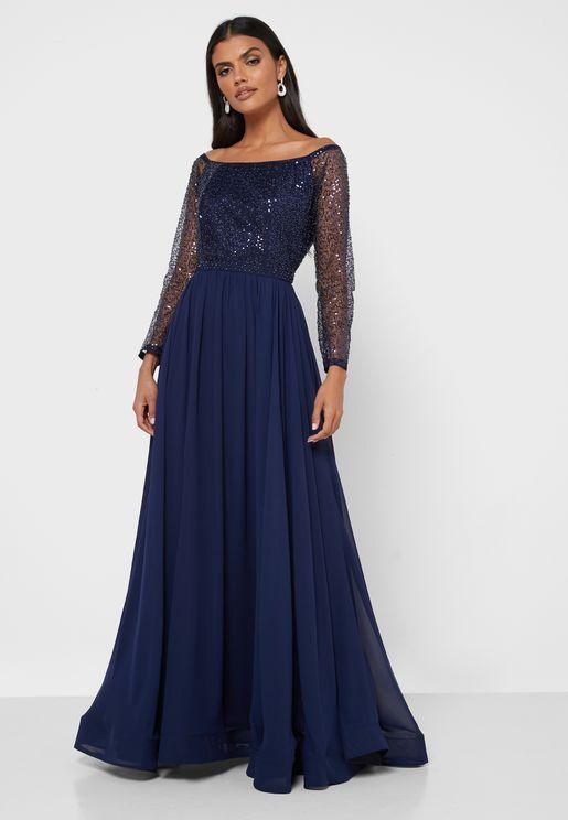 فستان باكتاف مكشوفة مزين بالترتر