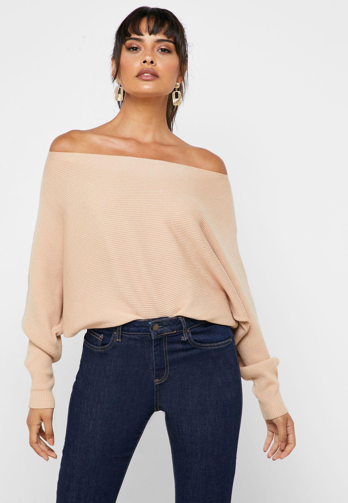 Drape Shoulder Sweater