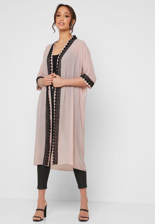 49f9550790 Lace Trim Longline Kimono