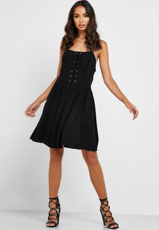 Front Lace Up Pleated Skater Dress