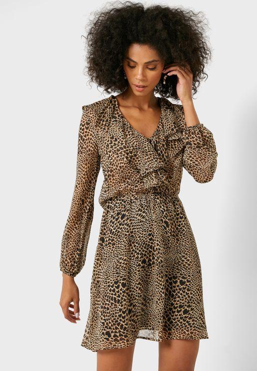 Ruffle Detail Animal Print Dress
