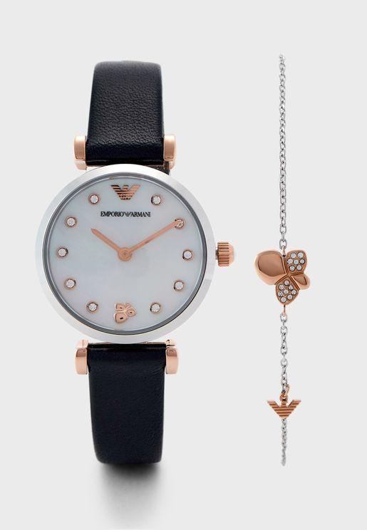 AR80036 Gianni T-Bar Analog Watch & Bracelet Gift