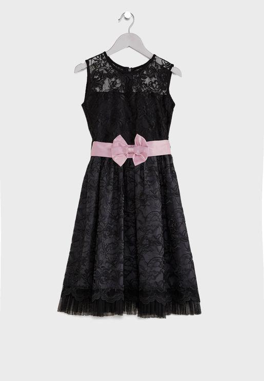 Kids Lace With Belt Dress