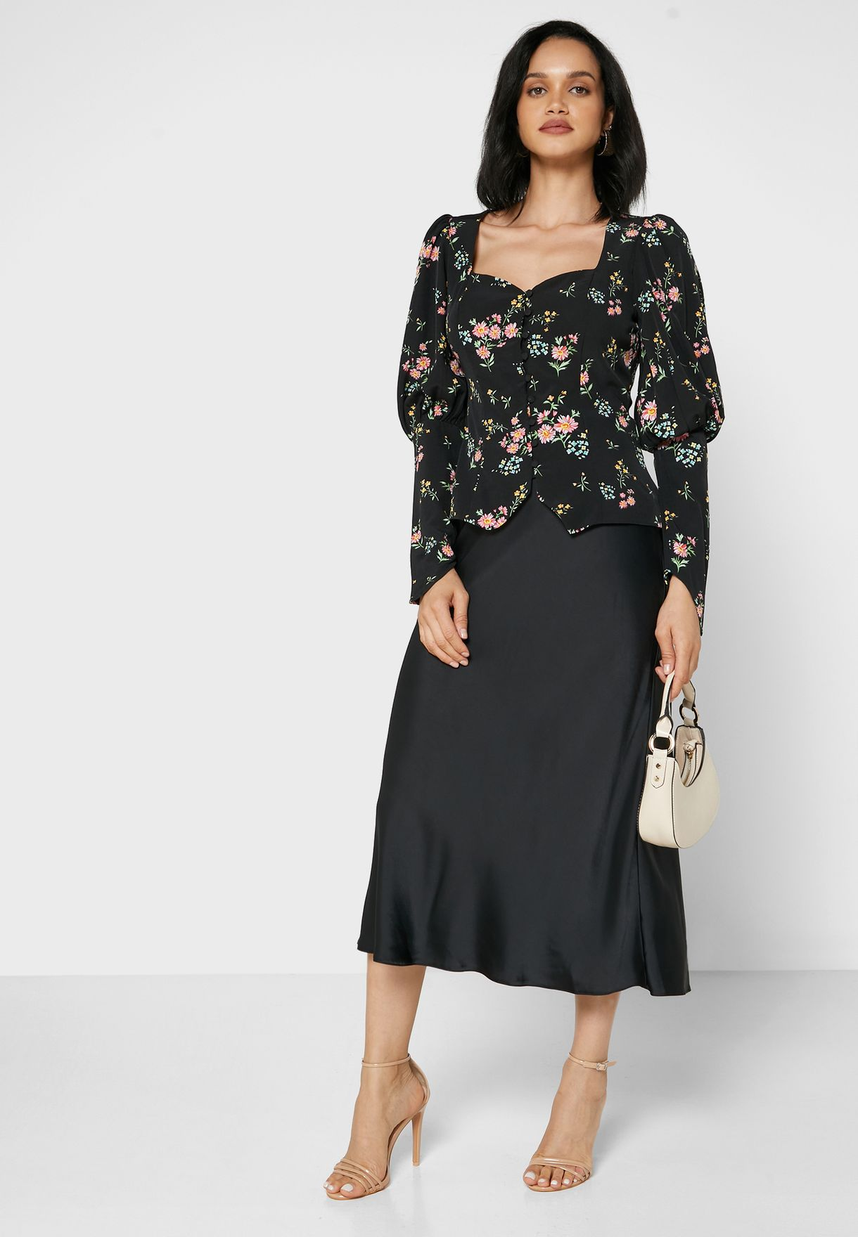 Floral Print Puffed Sleeve Top