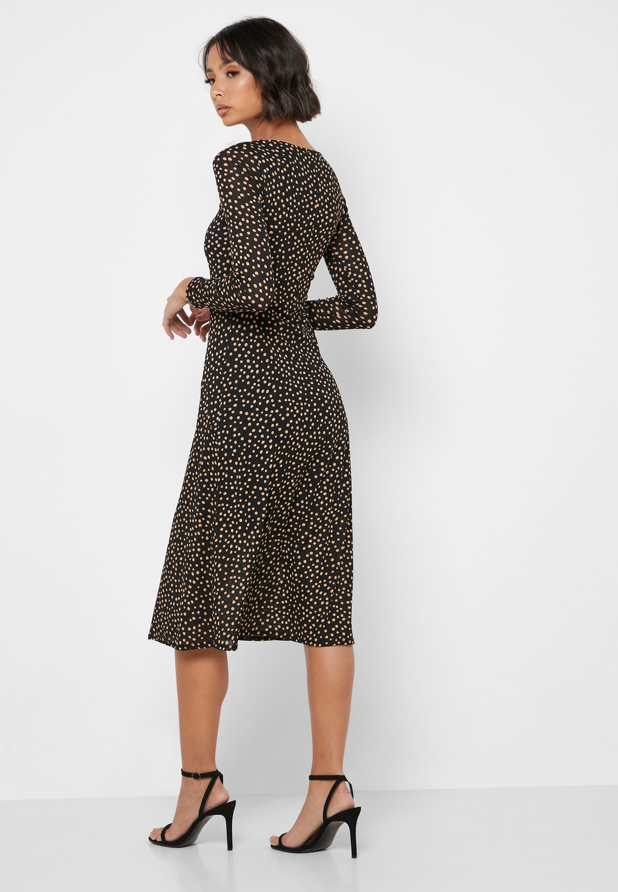 Dorothy Perkins Petite Dot Print Mesh Trim Dress - Women Clothing CssBt