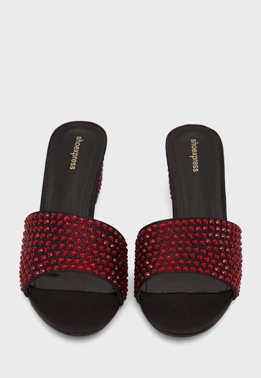 Studded Wide Strap Sandals