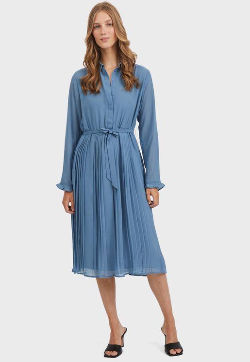 Tie Waist Midi Shirt Dress