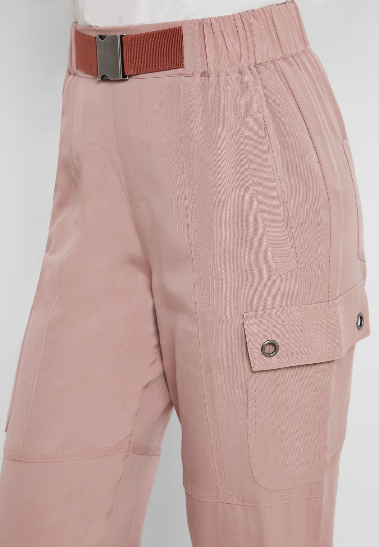 Buckle Detail High Waist Pants