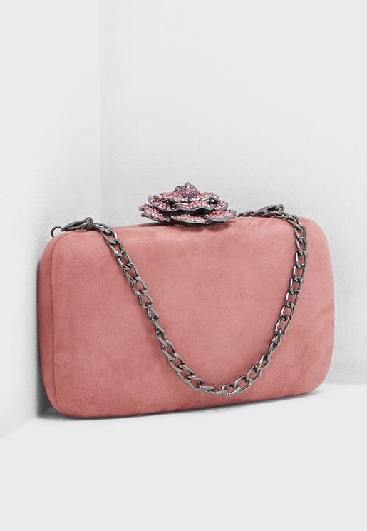Boxy Clutch Bag In Faux Suede With Diamante Flower