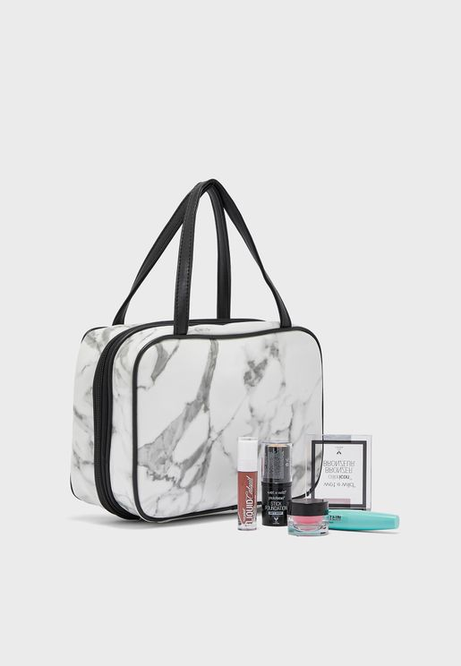 Marble Fold Out Cosmetic Bag