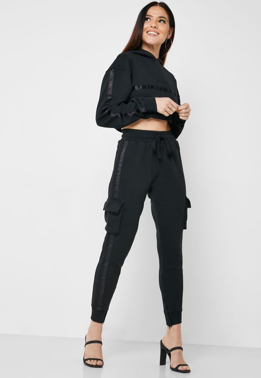 Satin Taped Cropped Sweatpants