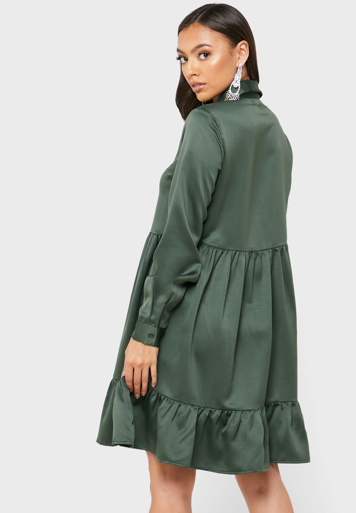 Ruffle Hem Placket Shirt Dress