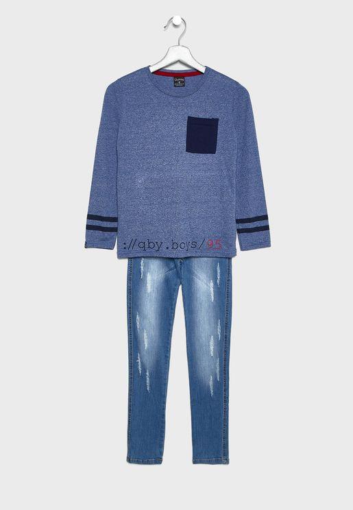 طقم ( تيشيرت + بنطال جينز)