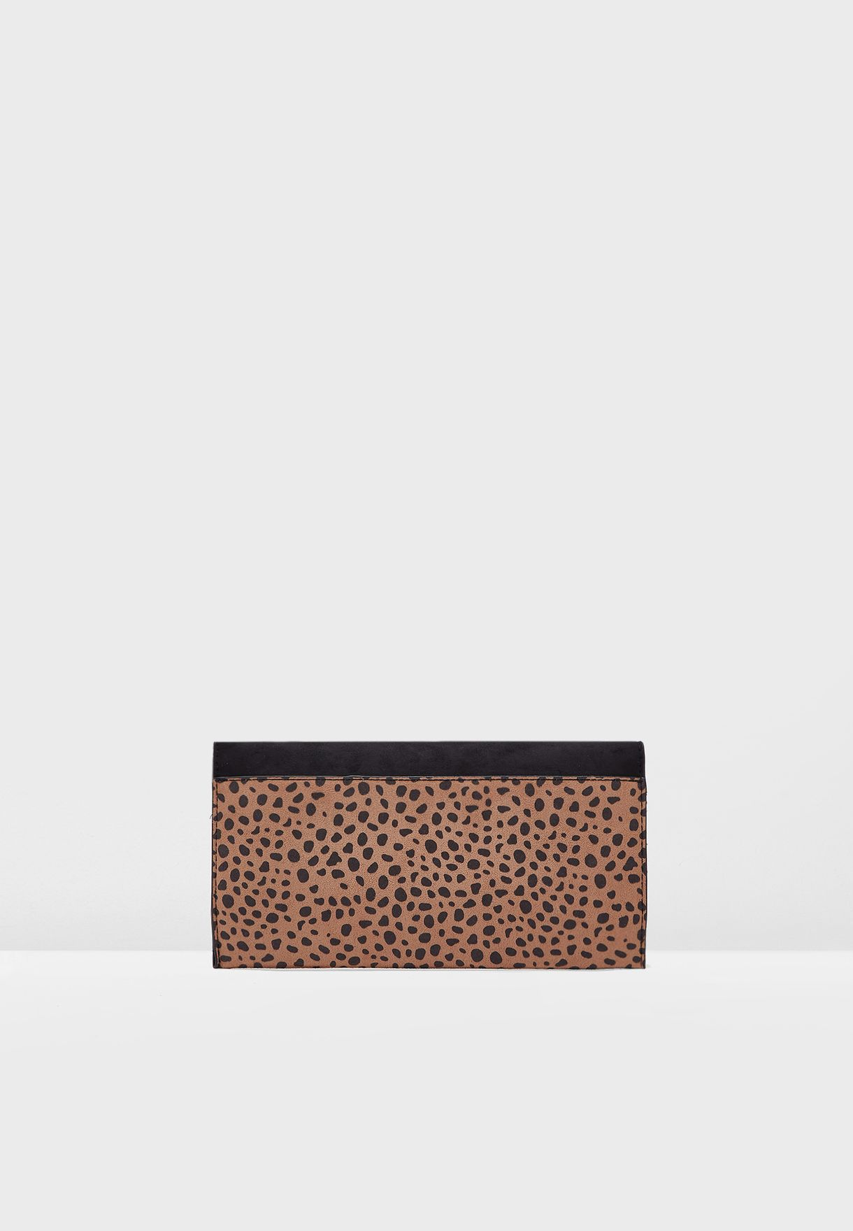Animal Print Ring Front Clutch