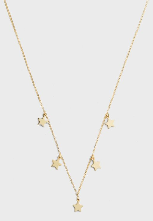Star Charm Multi Drop Necklace