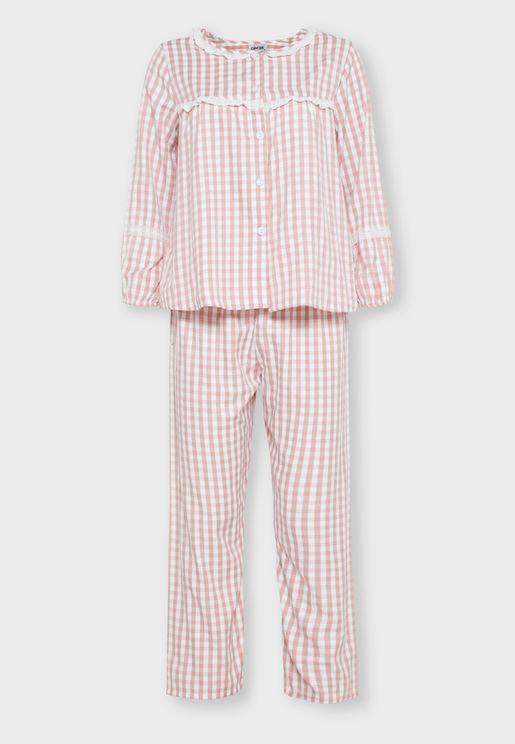 Checked Lace Insert Shirt Pyjama Set