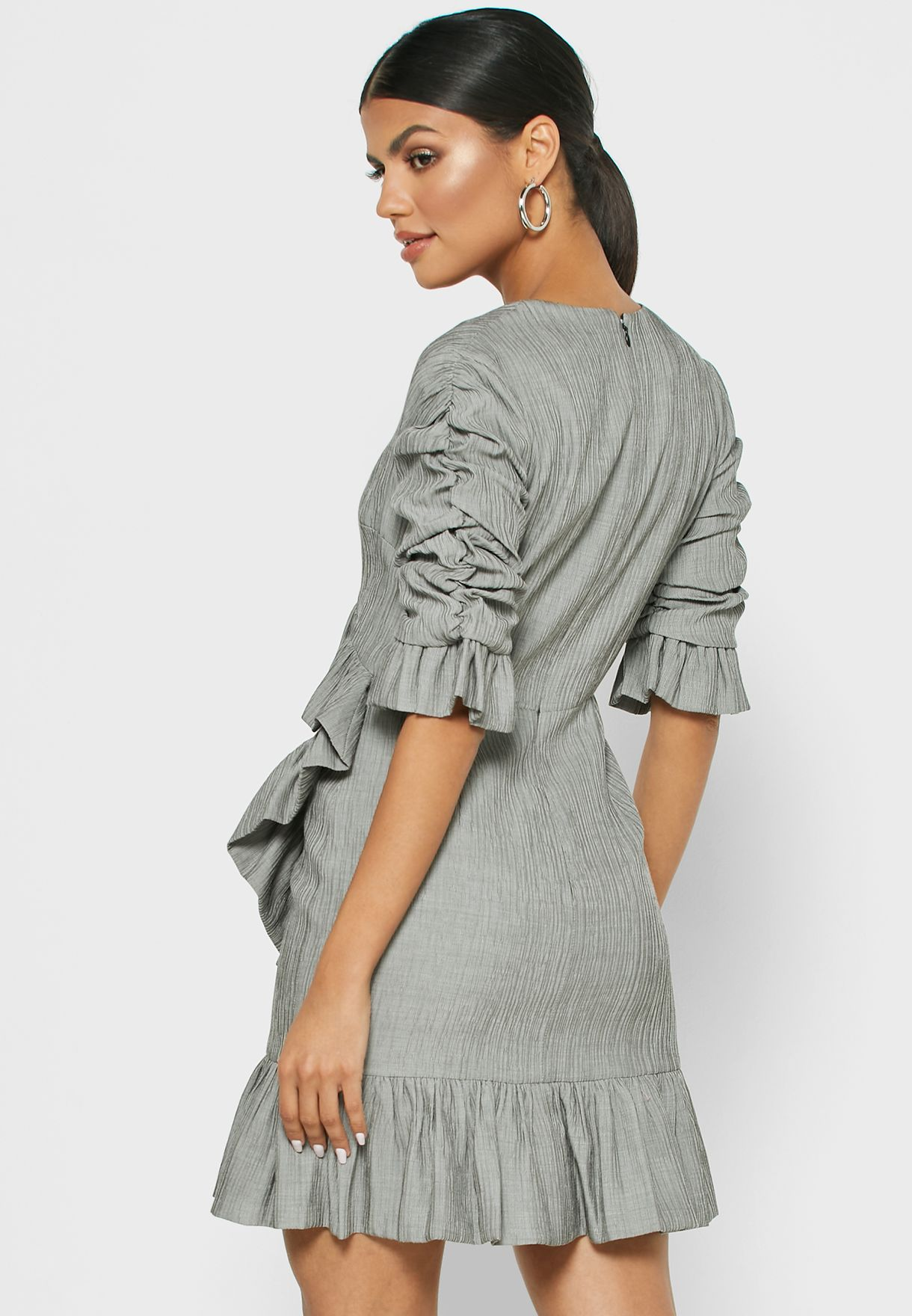 Ruched Detail Ruffle Wrap Dress