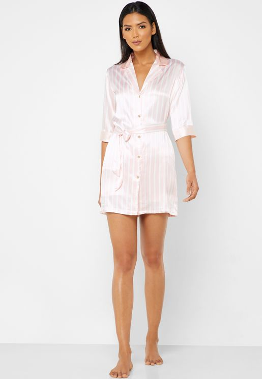 Striped Robe Pyjama Shorts Set