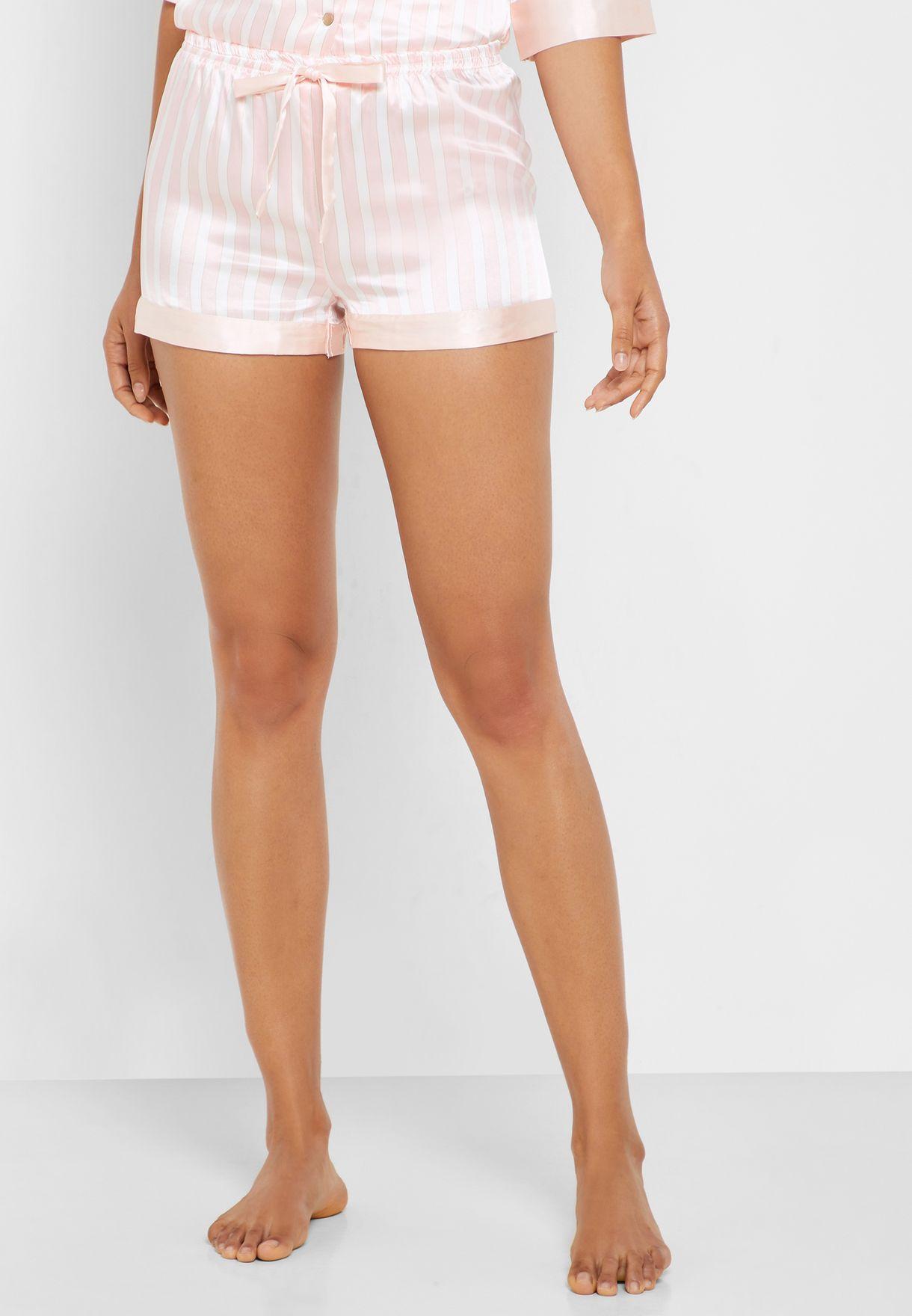 Striped Robe Pyjama Shorts Set