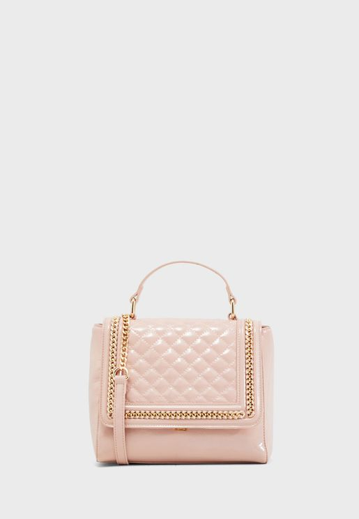 Embellished Detail Quilted Satchel