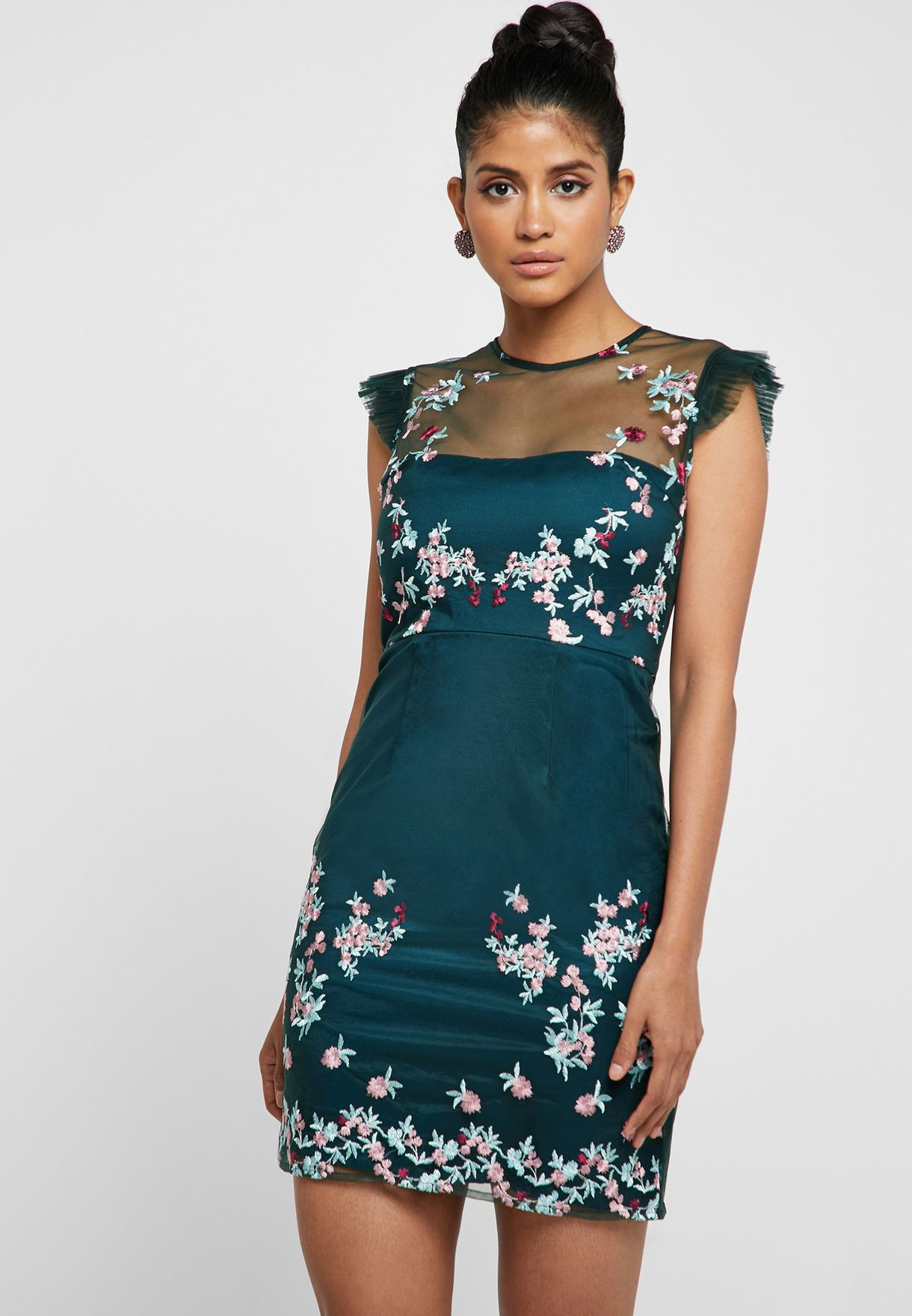 Embroidered Mesh Detail Dress