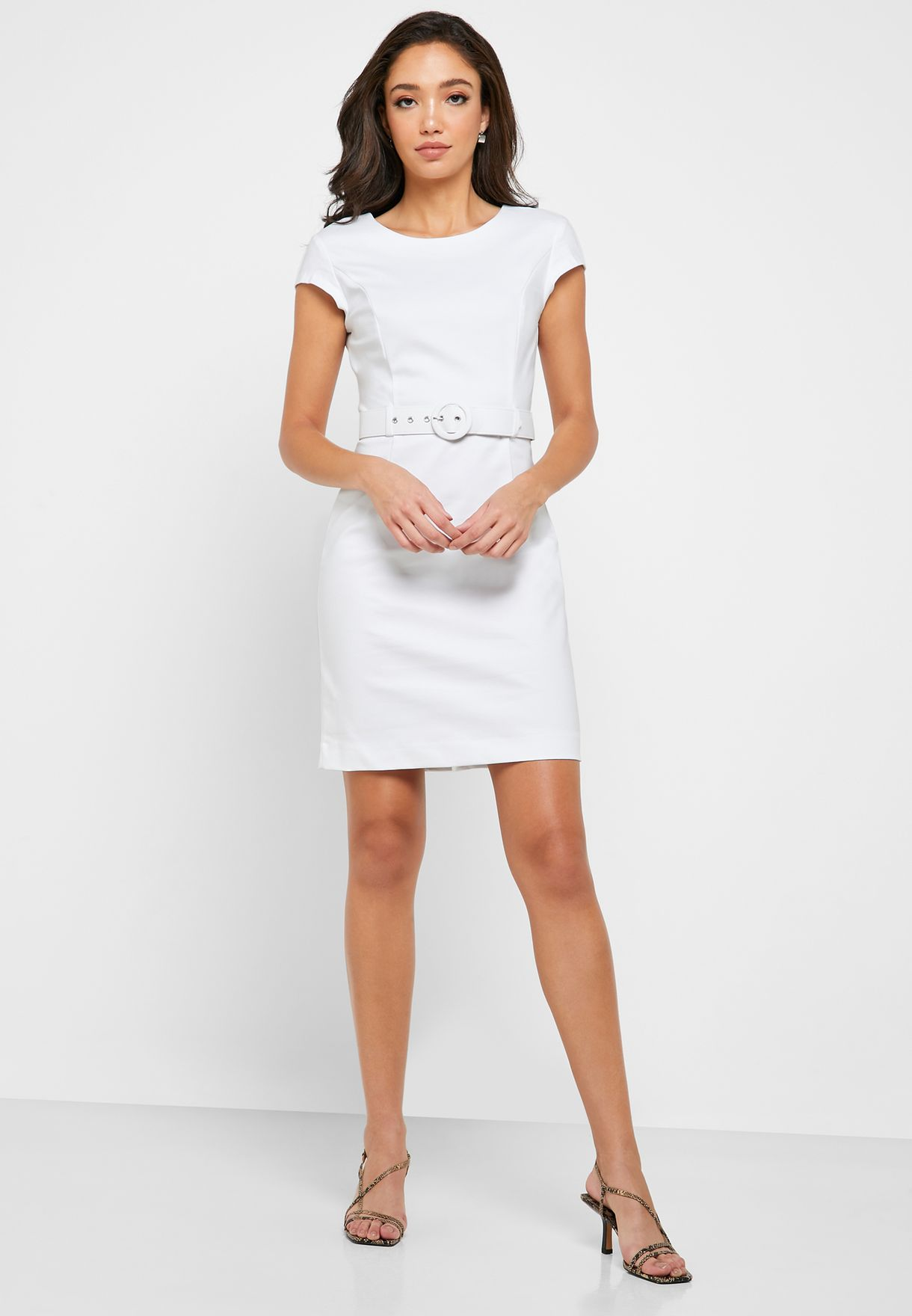 Belted Crew Neck Dress