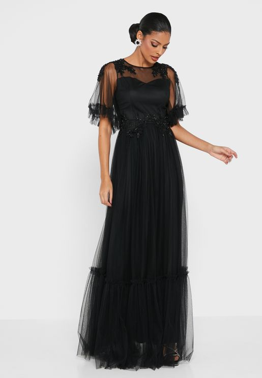فستان باكمام شبك