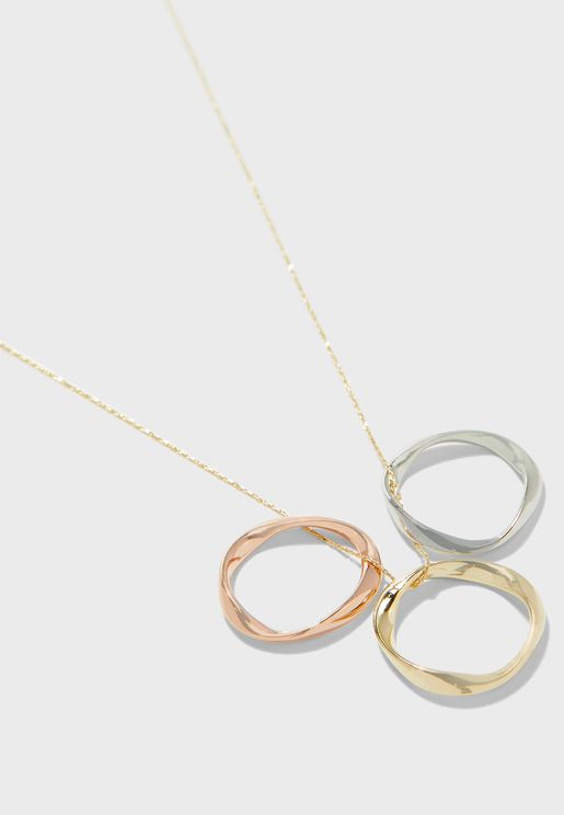 Mixed Plate Ring Detail Trio Necklace