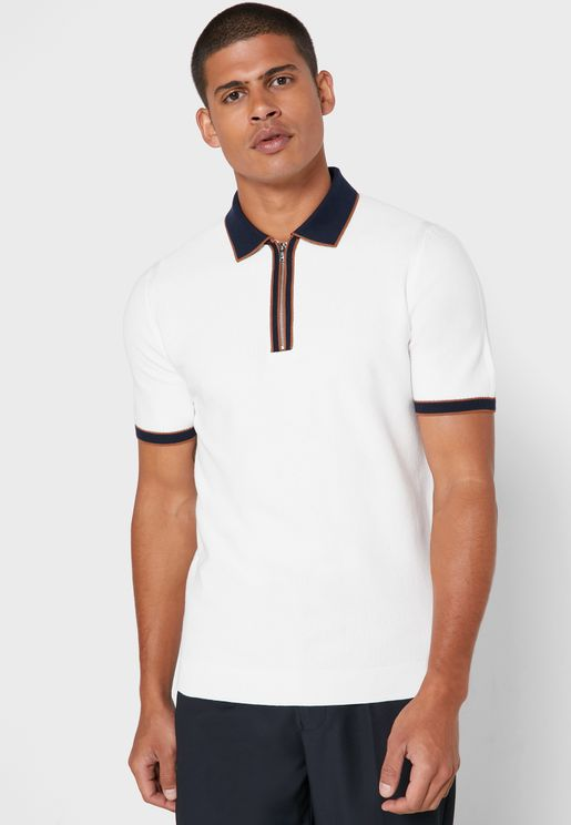 Textured Half Zip Polo