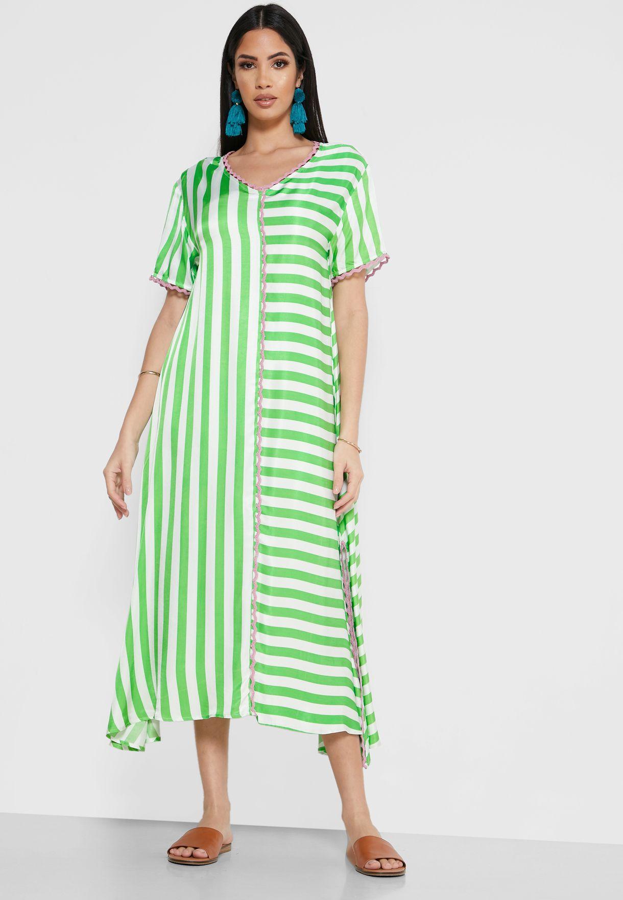 Mia Side Split Striped Kaftan