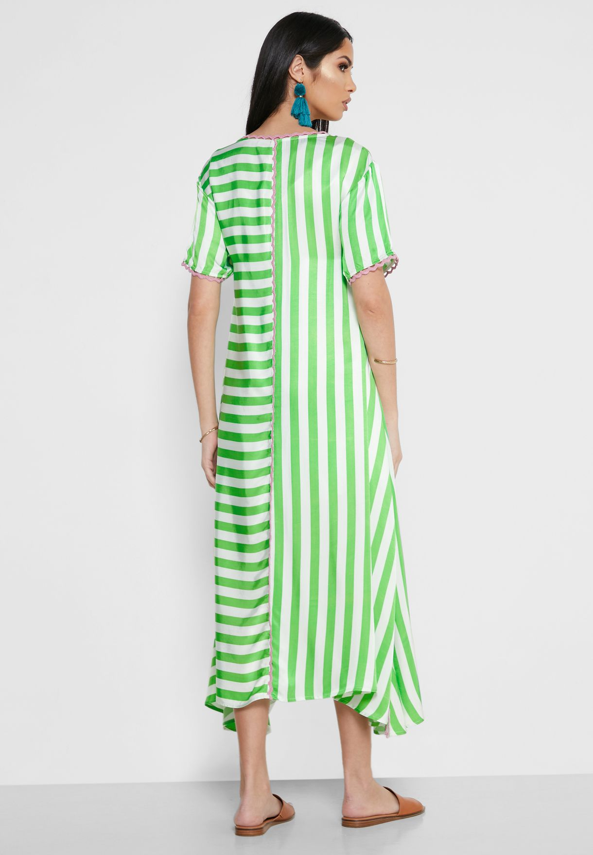 Mia Side Split Striped Kaftan