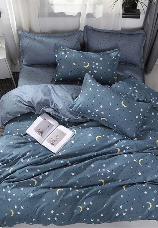 طقم سرير بطباعة نجوم وقمر - مزدوج 200 x 200