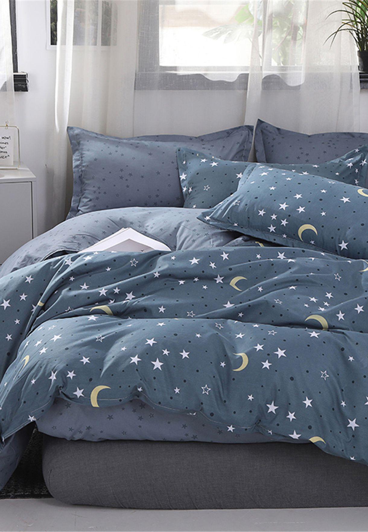طقم سرير بطباعة نجوم وقمر - مزدوج 200x200 سم