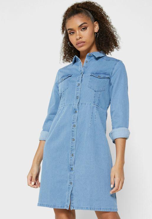 Denim Shirt Mini Dress