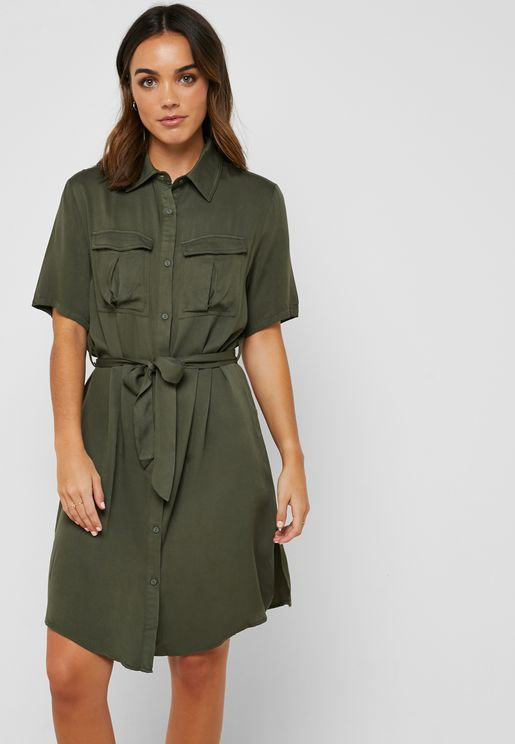 Self Tie Shirt Midi Dress