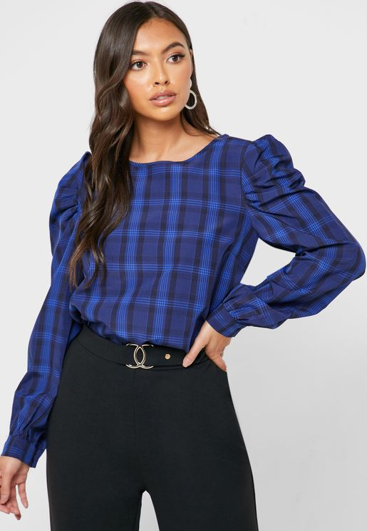 Puff Sleeve Checked Top