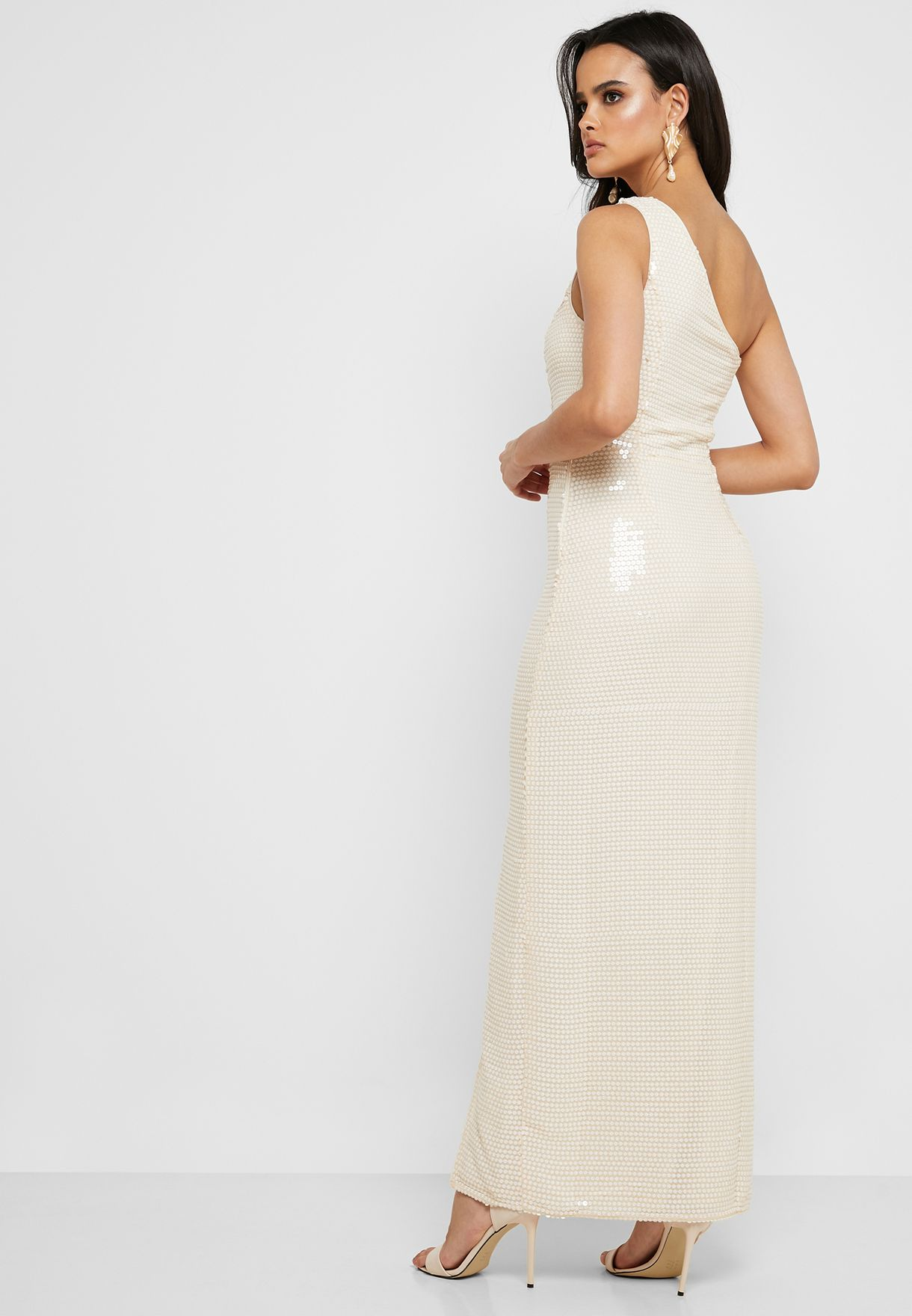 One Shoulder Sequin Maxi Dress