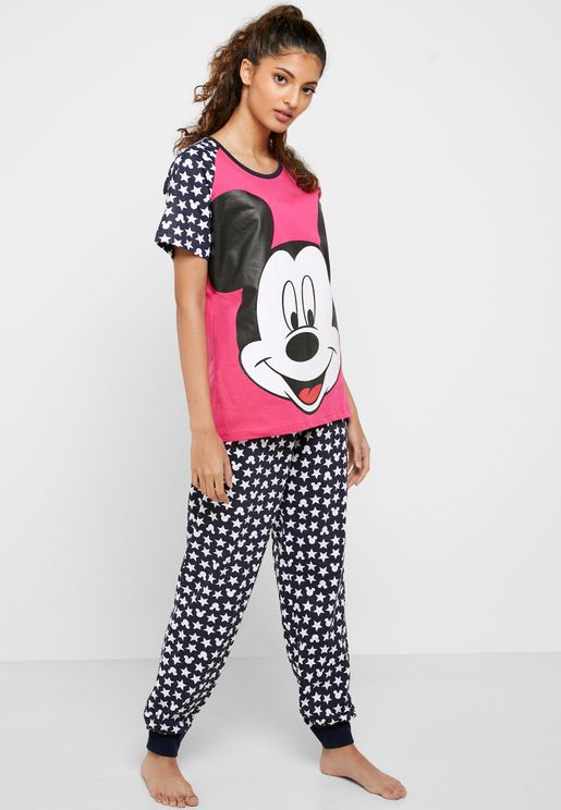 Colorblock Graphic T-Shirt & Printed Cuff Pyjama