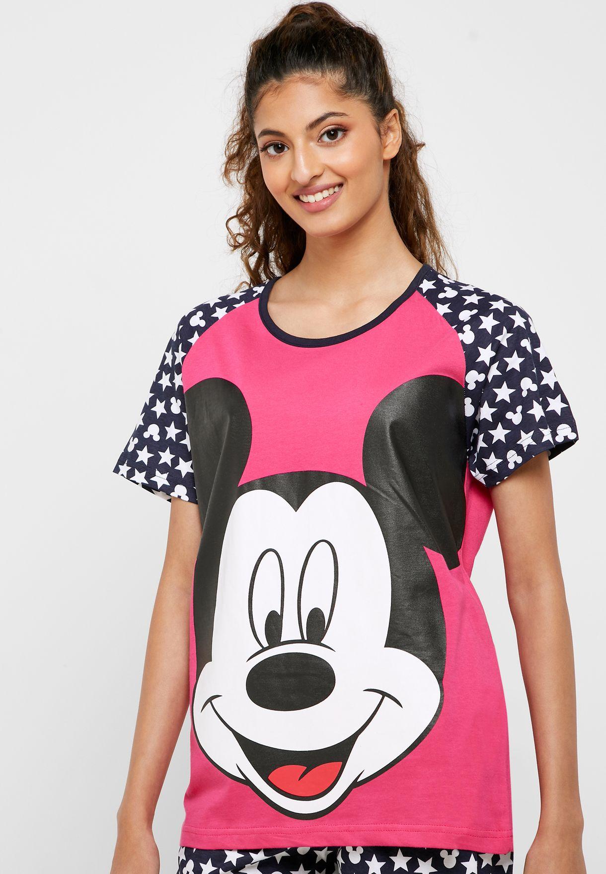 Colorblock Graphic T-Shirt & Printed Cuff Pyjama